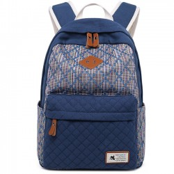 Unique Girl's Contrast Color Rhombus Student School Rucksack Lattice Thick Canvas Backpack
