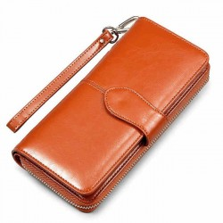 Retro Wallet Multi-function PU Leather Simple Phone Case Purse Clutch Bag