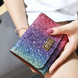 Shining Gradient Rainbow Style Bling Sequin Zipper Wallet Purse Clutch Bag