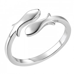 Constellation Pisces Silver Fishes Finishing Polish Open Ring