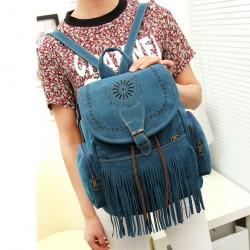 Retro Hollow Flowers Girl's Flannelette Draw String Tassels PU Bucket School Backpack