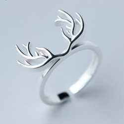Solid Deer Horn Silver Pure Plain Hollow Open Ring