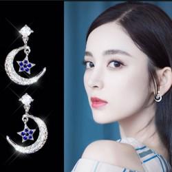 Shining Women's Ear Clips Stars Moon Sterling Silver Earrings Studs