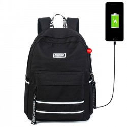 New Double White Stripe Waterproof Student Bag USB Interface Large College Canvas Backpack