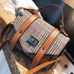 Fresh Double Buckle Girl's PU Splicing Plaid Woolen Belt Flap Shoulder Bag
