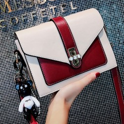 Leisure Diamond Buckle Messenger Bag Contrast Color Women Shoulder Bag