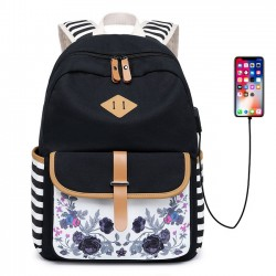 Fresh Stripe Flower School Bag USB Interface Floral Young Student Canvas Backpack