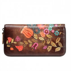 Vintage Large Long Purse Large Phone Clutch Bag Retro Colorful Flower Bird Leaves Branch Embossing Wallet