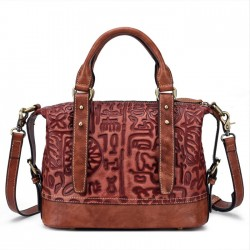 Retro Bark Folds Multi-function Handmade Handbag Cowhide Shoulder Bag