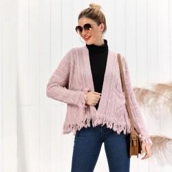 New Tassel Loose Knit Long Sleeve Twist Cardigan Women Sweater