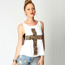 Unique Cross Leopard Printed Loose Vest