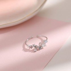 Fresh Flower Wreath Bow Butterfly Crystal Silver Open Girls Rings