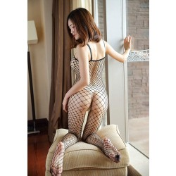 Sexy Hot Fishnet Bodystocking Crotchless Sleeveless Hollow Mesh One-Piece Woman Lingerie Bodysuit Pantyhose Lingerie