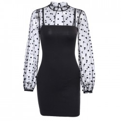 Sexy Stitching Long-Sleeved Black Polka Dot Dress Mesh Formal Dress
