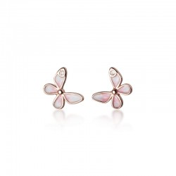 Sweet Pink Butterfly Earrings for Women Butterfly Crystal Animal Silver Earrings Studs