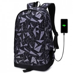 Leisure Mountaineering Travel Basketball Bag School Backpack Triangle Print Oxford Male Outdoor Large Capacity Backpack