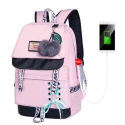 Fresh Bandage Bow Waterproof Shoelace Style Student Backpack Junior High School Backpack