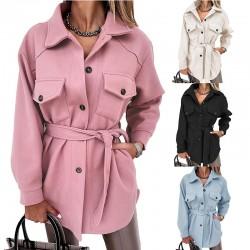 Leisure Notched Lapel Single Breasted Outwear Winter Coat Lapel Tie Woolen Mid-length Coat