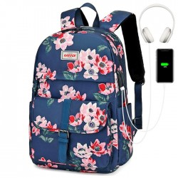 Leisure Flower Print Single Buckle Middle School Bag Large Capacity Waterproof Computer Bag Backpack