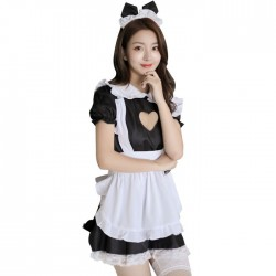 Sexy  Love Hollow Lace Maid Cosplay Maid Costume Dress Maid Uniform Temptation Hot Teenage Lingerie