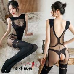 Sexy Bar Girl Wertical Stripe Open Crotch Stockings Perspective Teddy Bodysuit Women's Lingerie Bodystocking
