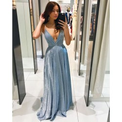 Elegant Shining Deep V Neck Sleeveless Backless Straps Bridesmaid Maxi Dress Gather Chest Party Evening Gown