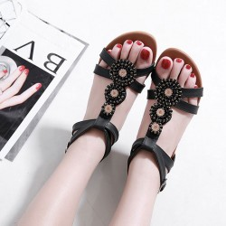 New Bohemian Beaded Rhinestone Flats Plus Size Summer Shoes Roman Sandals