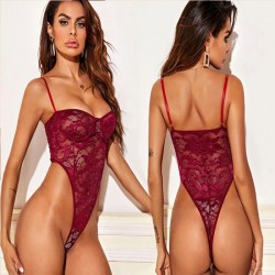 Sexy Flower Lace Hollow Sling Teddy Bodysuit Hot Doll Tight Intimate Lingerie