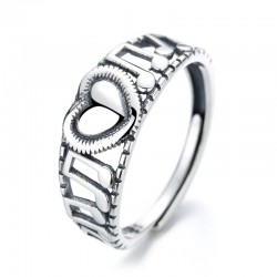 Retro Musical Notes Sterling Silver Women's Music Note Song Ring Love Heart Hollow Clef Ring