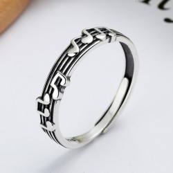 Unique Musical Notes Sterling Silver Music Clef Open Ring Adjustable Gift For Music Lover Song Rings