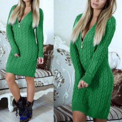 Sexy Women's Long Sleeves Mock Neck Package Hip Skirt Cable-Knit Short Sweater Dress