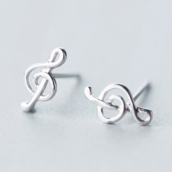 Simple Beauty of Line Silver Music Notes Sweet Women's Earring Studs
