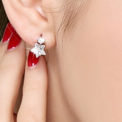 Fashion Crystal Diamond-bordered Eardrop Star Silver Women Earring Studs