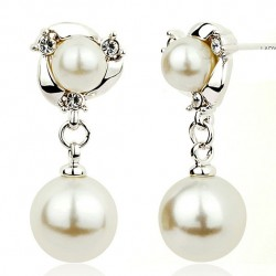 Fashion Pearls Ear drop Graceful Ear Clip Diamond-bordered Pearls Silver Women Earring Studs