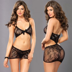 Sexy Lace Bra Set Hollow Flower Black Bow Intimate Women Lingerie