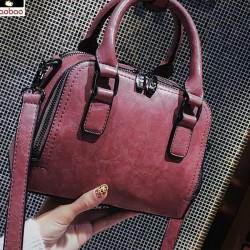 Retro Leisure Pillow Lady Simple Pure Color Handbag Shoulder Bag