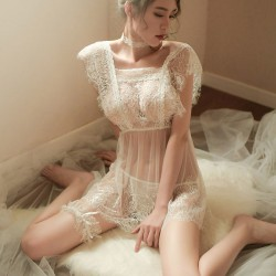 Sexy Temptation Backless Pajamas Nightgown Chemise Eyelash Lace Perspective Women Intimate Lingerie