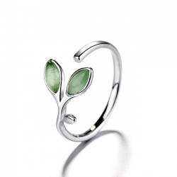 Fresh Green Young Leaves Ring Opal Female Open Ring