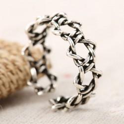 Vintage Women Hexagram Thorns Silver Couple Open Ring