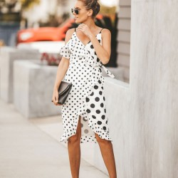 New Irregular Big Small Wave Point Sling Dot Women Dress