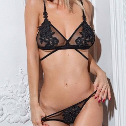 Sexy Black Mesh Rose Embroidery Flower Perspective Bra Set Women Lingerie