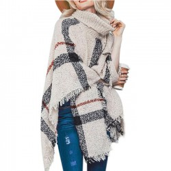 Fashion Knitting Medium Long High Collar Tassel Cloak Shawl Loose Large Sweater