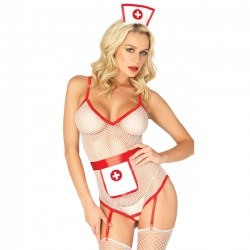 Sexy  Open Perspective Fish Net Uniform Temptation Nurse Cosplay Conjoined Women Lingerie