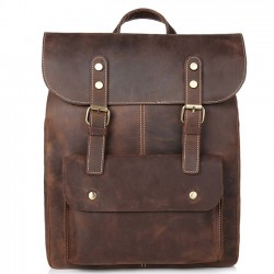 Retro Leather Double Buckle British Style Large School Backpack Leisure Handmade Travel Rucksack