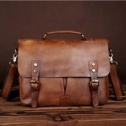 Retro Leather Men's Briefcase Double Buckle Large Original Business Bag Shoulder Bag