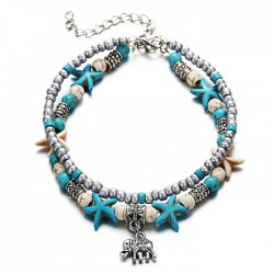 Leisure Elephant Pendant Conch Starfish Yoga Beach Tortoise Double Anklet Bracelet Foot Accessory Anklet