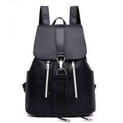 Leisure Oxford Splicing PU Draw String Flap Black Summer Waterproof School Backpack