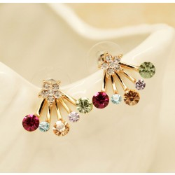 Elegant Crown Bowknot Star Rhinestones Silver Earring