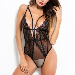 Sexy Lace Hollow Splice Deep V One-piece Underwear Teddy Bodysuit Women's Lingerie