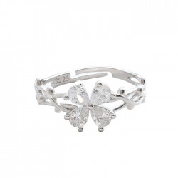 Original Four-leaf Crystal Flowers Butterfly Thorns Entanglement Silver Open Ring